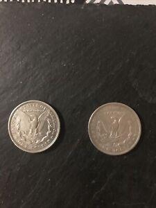 Lot 2 Pieces 1 Dollar Morgan Argent USA Annee 1878 Et 1921