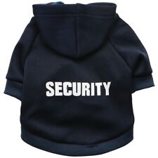 Dog Black SECURITY Puppy Clothes T-Shirt Coat Vest Top Warm with hat