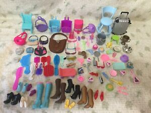 DOLL ACCESSORIES Lot of (94) Mixed Brands Barbie Furniture Purses Combs Boots
