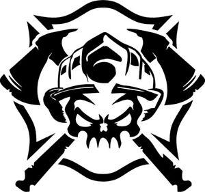 Vinyl Decal - Firefighter Skull and Shield