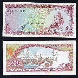 Maldive / Maldives - 20 rufiyaa 1987  SPL/XF  B-06