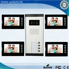 "Apartment 4 Units Wired 7"" Video Door Phone Intercom System Doorbell System 1V4"