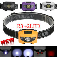 R3 2LED 300LM Mini Headlight Headlamp Flashlight 4 Mode Super Bright Torch Light