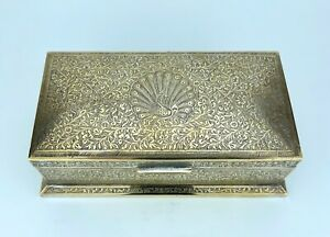 """ANTIQUE - SILVER PLATED BRASS BOX Peacock & Floral Engraving - 7.5"""" x 4"""" x 2.5"""""""