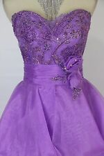 Tony Bowls Size 4 Purple Strapless Ball Gown Prom Formal $450 Dress High Low NEW