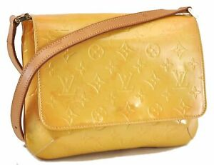 Auth Louis Vuitton Vernis Thompson Street Shoulder Bag Yellow M91008 LV C9952