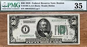 """1928 $50 FRN Fr.2100-A (AA Block) , PMG-35 CHOICE """"Redeemable In Gold"""" Clause. O"""