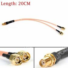 Y Type 1 SMA Female Jack To 2 SMA Male Plug T RF Pigtail RG316 Cable 8Inch 20CM