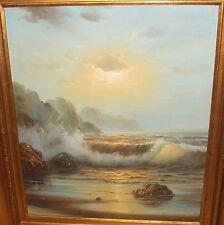 "KENETH LAWRENCE ""SUNDOWN"" ORIGINAL OIL ON CANVAS SEASCAPE PAINTING WITH C.O.A."