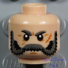 NEW Lego Male LIGHT FLESH MINIFIG HEAD w/Gray Minifigure Beard Moustache Hair