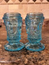 Vintage Blue Glass Three Face Salt & Pepper Shakers~L.G. Wright