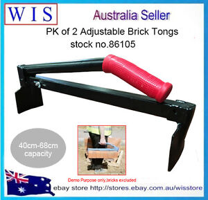 2/PK Brick Tongs,Brick Carrier,Brick Lifter,Carry Bricks for Bricklay,40-68cm