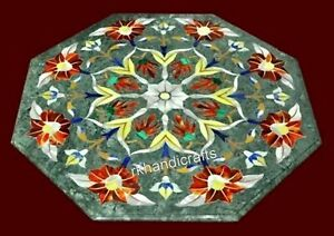 21 Inches Green Sofa Table Top Gemstones Inlay Art Marble Coffee Table for Home