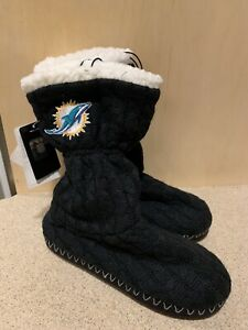 Miami Dolphins NFL Women's Black Bootie Slippers, Size Small (5/6) - NWT