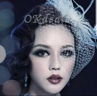 Uk White Fashion Headdress Wedding Bridal Feather Net Bow Birdcage Wedding Veils