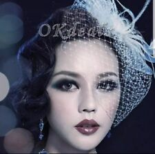 Uk White Fashion Headress Wedding Bridal Feather Net Bow Bridcage Veils