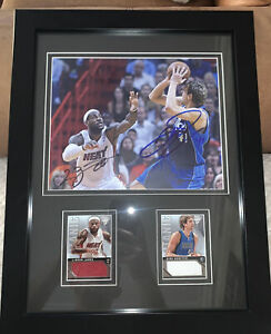 Lebron James & Dirk Nowitzki Autographed Photo W/ Jersey Cards /299 Framed - COA