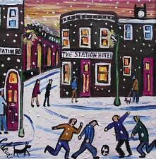 Snowy Soccer Stockport : Original Northern Art Oil Painting : Phil Lewis