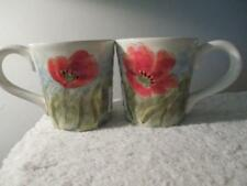 """S/2 Maxcera FRENCH Floral """"FLOWING POPPIES"""" Coffee MUG SET Ceramic"""