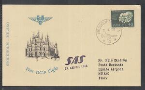 beautiful FFC First Flight Card SAS 1968 Stockholm to Milano Mailand