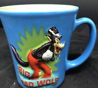 Vintage Disney Store BIG BAD WOLF 3D Raised Blue Coffee Mug Cup