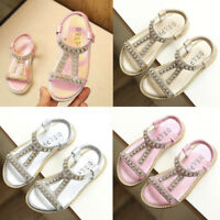 Kids Baby Girl Summer Beach Slippers Sandals Leather Crystal Soft Princess Shoes