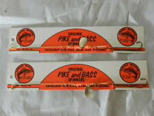 VINTAGE FISHING LURE- STRIKE MASTER ORIGINAL PIKE AND BASS SPINNERS CARDS-(2)