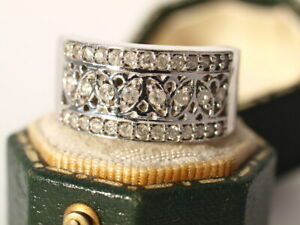 9ct white gold round cut 0.49 ct Diamond Filigree ring 7.30 g size N Certificate