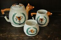 PPC Lovely 1950s Vintage Fox Hunting Theme Teapot, Milk Jug and Sugar Bowl Set