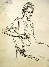 Wolfgang von Websky 1895-1992 Wangen / Zeichnung sitzende junge Frau / um 1955