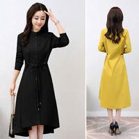 Women Long Dress Sleeve Slim Belt casual shirts dress Lapel  Party Coat Tops new