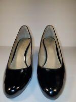 Bandolino Cheers Black Patent Pumps High Heels Shoes Womens Sz 9 9.5