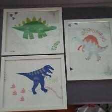 "Unique Dinosaur T-Rex Stegosaurus Spinosaurus 3x Frames Home Decor Gift 9 x 11"""