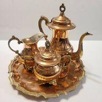 Vintage Copper Tea Set with Brass Creamer Sugar Platter Tray Made in Pakistan