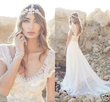 Hot Boho Beach White Chiffon Wedding Dresses Beading Cap Sleeves Bridal Wedding