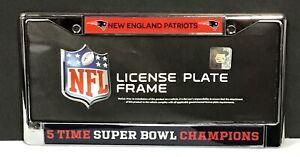 New England Patriots NFL 5x Super Bowl Champions Chrome License Plate Tag Frame