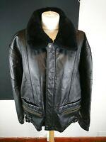 Ladies Black 100% Leather Flight Bomber Jacket Coat With Faux Fur Trim Size L