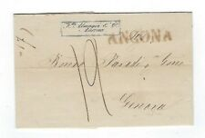 1848 Ancona Italy, Straight Line, Commercial Stampless to Genoa VERY FINE