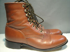 WOMENS 7 C WIDE JUSTIN BROWN LEATHER WORK RIDING CHORE LACE UP BOOTS