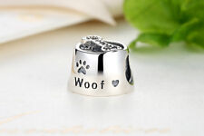 Dog paw bone woof Spacer Bead Fit European 925 Silver Charms Bracelet DIY D624