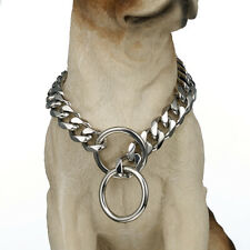 15mm 316L Stainless Steel Curb Cuban Link Dog Choke Chain Collar Pet Necklace