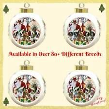 Christmas Santa Dog Cat House Gathering Round Ball Christmas Tree Ornament