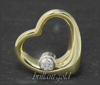 Diamant Brillant ♥♥♥ Herz Anhänger, lupenreiner 0,22ct Brilliant, 585 Gold, Neu