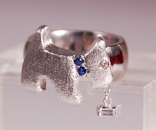 STERLING SILVER DOG RING - HANDMADE SAPPHIRES & DIAMOND