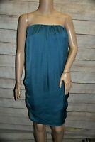 NWOT L TEAL GREEN BLUE CRINKLE STRAPLESS RUCHED SIDE TOGA BOHO SHIFT DRESS BELT