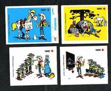 Belgique - Croix-Rouge - Lucky Luke - 4 Autocollants 1988.