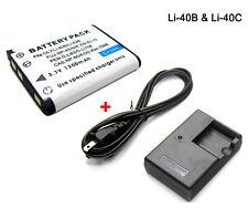 3.7V 1200mAh Battery & Charger For Olympus Li-40B Li-42B Li-40C Compatible Model