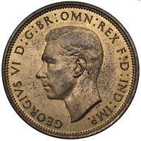 1937 HALFPENNY - GEORGE VI BRITISH BRONZE COIN - SUPERB
