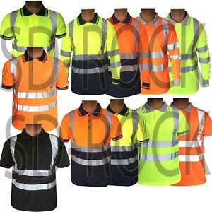 Hi Viz Vis High Visibility T-Shirt Safety Security Polo Shirt Work Top Big Sizes