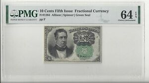 Nice 10 Cents Fifth Issue Fractional Fr-1264 PMG Choice Uncirculated 64 EPQ
